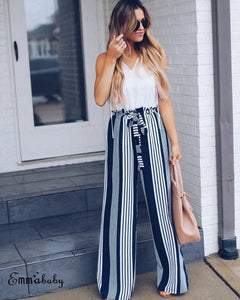 New 2018 Fashion Summer Wide Leg Pants Women High Waist Plaid Striped Loose Palazzo Pants Elegant Office Lady Trouser Navy Blue-geekbuyig