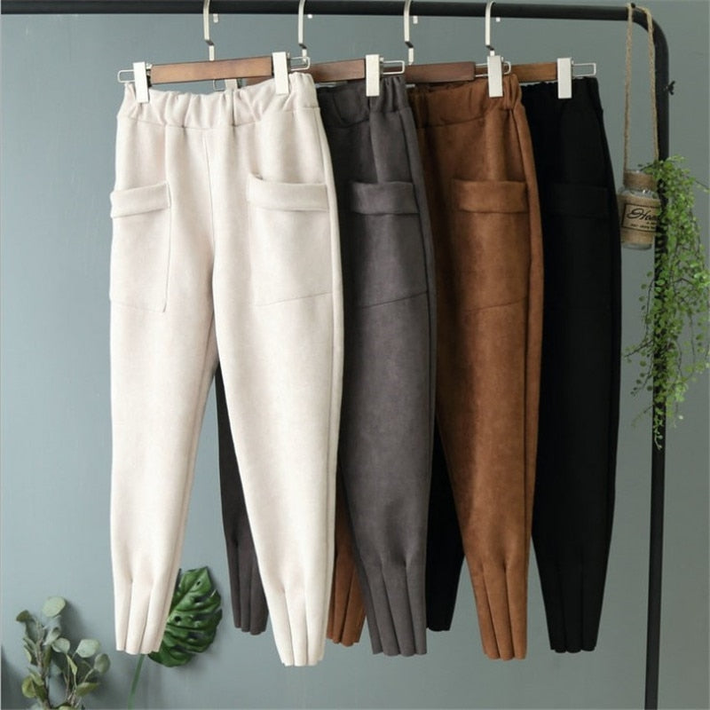 Women Spring Suede High Waist Casual Harem Pants Spring Autumn Trousers Leather Suede Bottoms Sweatpants Loose Autumn Pants-geekbuyig