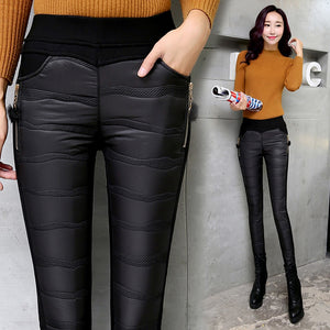 New 2018 Winter Women Pants Fashion Stitching Elastic Waist Slim Warm Windproof Down Pants Plus Thick Velvet Trousers Pants Feet-geekbuyig
