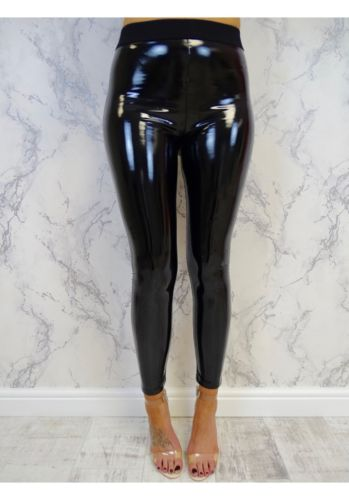 Women Sexy Black Pants Slim Soft Strethcy Shiny Wet Look Faux Leather Leggings Ladies Clothes-geekbuyig