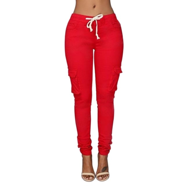 Women Drawstring Stretch Pencil Pants Casual Elastic Waist Multi Pockets Cargo Solid Fashion Long Pants-geekbuyig
