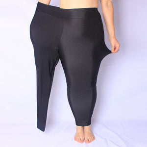 Big Size XL-5XL Women Black Shiny Pant Leggings Large Size Spandex Shinny Elasticity Casual Trousers For Girl-geekbuyig