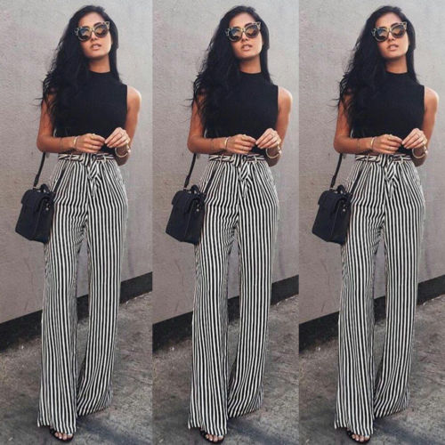 Women's Striped Palazzo Straps Pants Long Loose High Waist Wide Leg Trousers Ladies Plus Size-geekbuyig