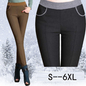 Plus Size 6XL Pencil Pants Women 2018 Winter Warm Trousers High Elastic Waist Slim Women Pants Casual Women High Waist Pants-geekbuyig