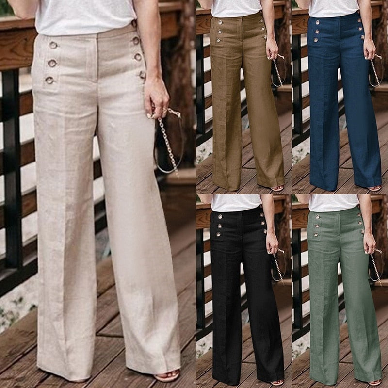 2019Hot Autumn Cotton Linen Women Wide Legs Trousers Solid Casual Loose High Waist Button Trousers Female Loose Pants Size M-2XL-geekbuyig