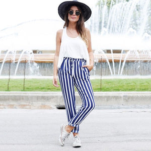 Autumn casual pants 2018 fashion new loose blue striped pants oblique pocket stretch drawstring decorative harem pants-geekbuyig