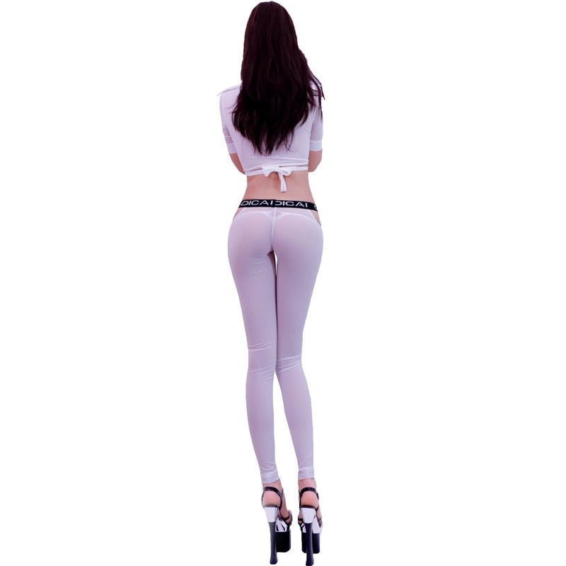 Sexy See Through Stretchy Pencil Pants Women Ice Silk Transparent Skinny Slim Trousers Sexy Leggings Erotic Lingerie Club Wear-geekbuyig