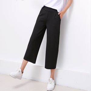 Women 2018 New autumn Winter Black Wide Leg Pants S-3XL Large Size Ankle-Length Loose Female High Waist casual thin nine Pants-geekbuyig