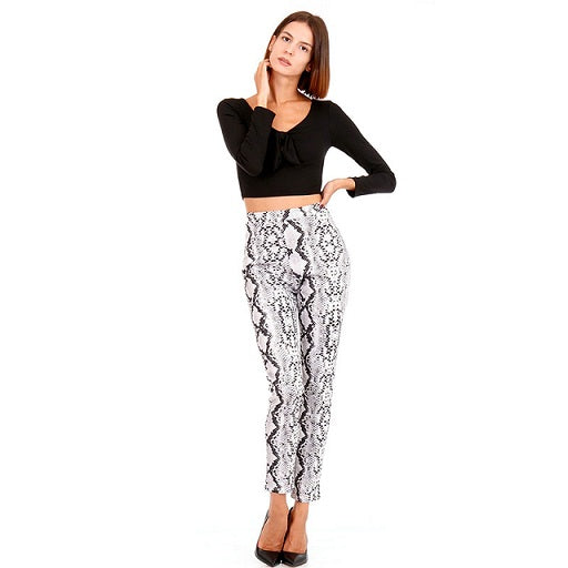 Women's Snake Print Pants 2018 Autumn and Winter Sexy Back Zipper Pocket Women's Trousers Casual Fashion Street Harem Pants-geekbuyig