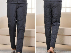 Woman Spring Fall Solid High Elastic Waist Straight Thick 92% White Duck Down Pants Female Winter Oversized Warm Down Trousers-geekbuyig
