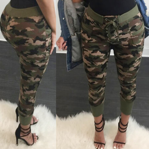 Women Fashion Camouflage Skinny Jeggings High waist Stretch Slim Sexy Trousers Pencil Pants Trousers-geekbuyig