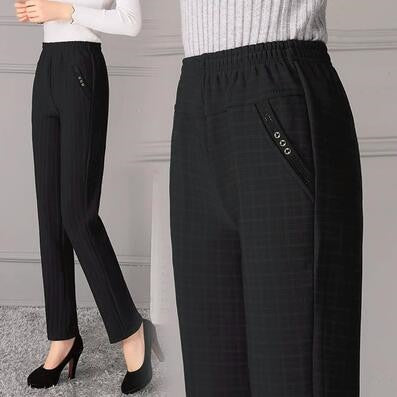 2018 Women Winter Warm Plaid Pants Cotton High Waist Pleated Full Length Straight Pants Plus Size 4XL 5XL-geekbuyig