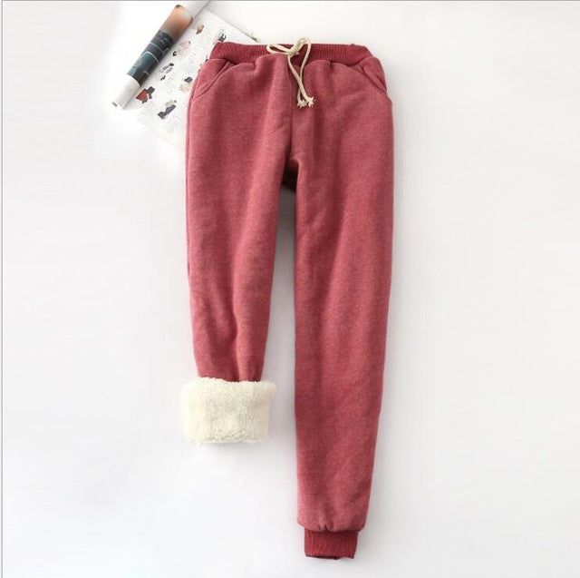 Winter Cashmere Harem Warm Pants Causal Women trousers Warm Women's Velvet Thick Lambskin Cashmere Pants For Women Loose Pant-geekbuyig