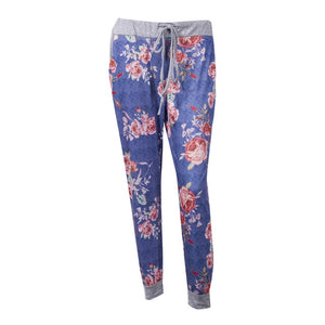 Womens Casual Floral Print Drawstring Casual Jogger Dance Harem Pant Baggy Slacks Trousers Sweatpants Loose Long Pants-geekbuyig