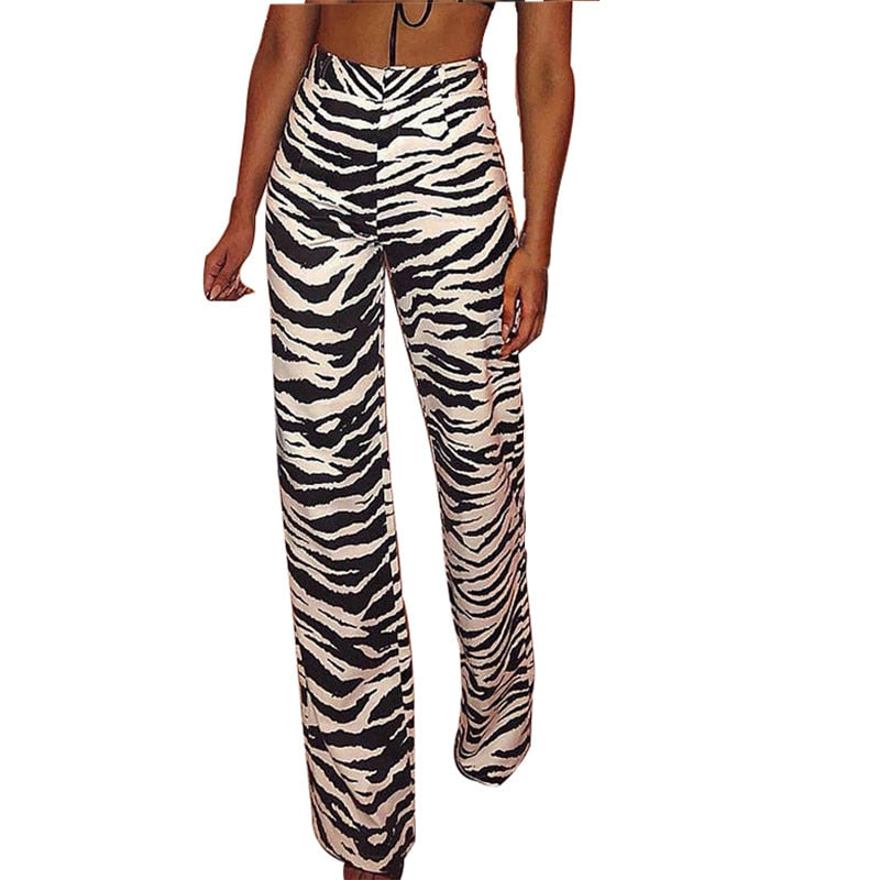 Zebra Striped Zipper Fly Long Pants Women High Waist Slim Fit Straight Trousers Female Fall Winter 2018 Casual Pants Capris-geekbuyig