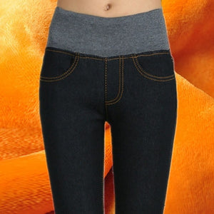 Fashion Plus Size Winter Women Pants Warm Plus Thick Pants Slim High Waist Stretch Pencil Pants Female Trousers Pencil Pants