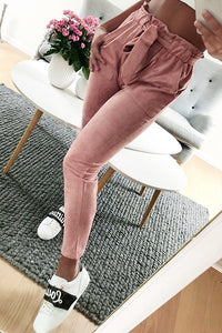 2018 new fashion autumn women's suede pants style women's casual fit belt wine red high waist pencil pants-geekbuyig
