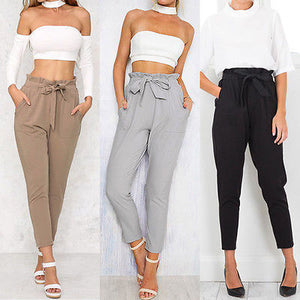 Summer/Autumn Fashion  Women Solid High Waist OL Pants With Bow Casual Elastic Pencil Trousers Hot new
