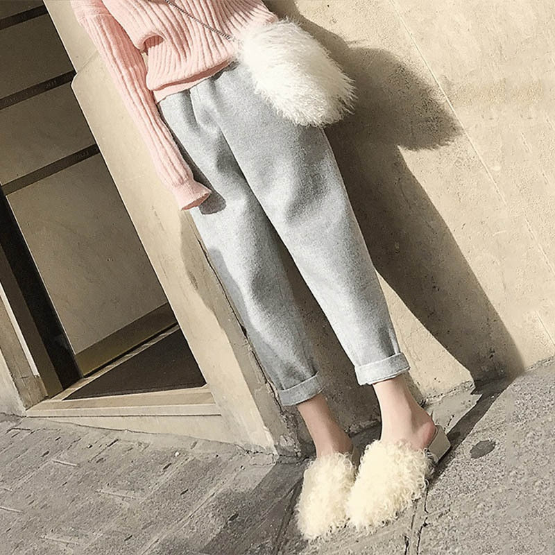 2017 Korean Style Autumn Winter Harem Pants Women Woolen Thick Casual Pants Black Trousers High Waist Female Loose Pencil Pant-geekbuyig