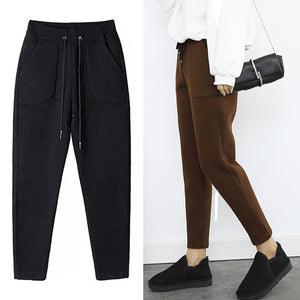 2018 Autumn Winter Pants Warm Women's Ankle Length Woolen Pant Thick High Waist Trousers Loose Work Lady Office Wear Harem Pants