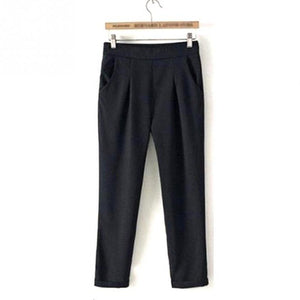 NEW Woman Office Lady Daily Wear black Large Size Thin Casual Suit Loose Harem Pants Female Cropped pants-geekbuyig