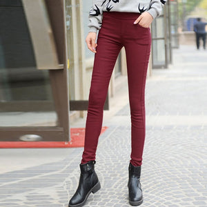 Winter High Waist Thicken Trousers for Women Black Blue White Velvet Leggings Women's Pants 2018 Fashion Warm Long Pants Female-geekbuyig
