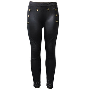 CANIS Fashion New Women Ladies PU Leather Pants Stretchy Push Up Pencil Skinny Tight Casual Pants-geekbuyig