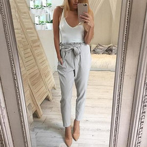 2018 Women High Waist Elastic Harem Pants Casual Chffion OL Lady Ankle -length Capris Trouser Women Clothing Pencil Pants-geekbuyig