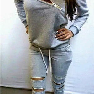 Sexy Zipper Casual 2pcs/Set Women's Clothing Spring Velvet Pullover Tops +Sportwear Pants 2 Piece with Zipper Female Clothing-geekbuyig