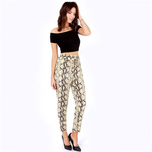 2018 Women Fashion Snake Print Pants Casual Elastic Waist Sexy Print Pattern Pencil Pants Ladies High Waist Trousers-geekbuyig