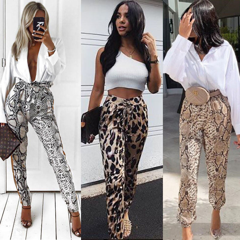 Casual Women Leopard Pants Fashion Ladies Long Pants Sports Slacks Trousers Elastic Waist Snake Skin Harem Pants Women Clothing-geekbuyig