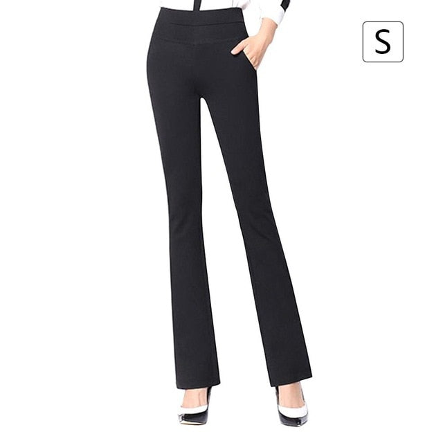 Women Office Lady Suit Pants Stretchy Boot Cut Stretch Trousers Slimming Straight-leg Stretch Fashionable Versatile High Waist-geekbuyig