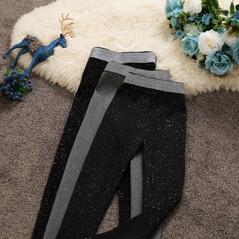 2018 Autumn and Winter New women high-waist bright silk pencil pants female solid color slim knitted trousers bottom leggings-geekbuyig