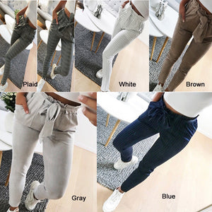 Womens High Waist Pants Bowknot Stripe Trousers Cigaratte Casual Ladies Paperbag New-geekbuyig