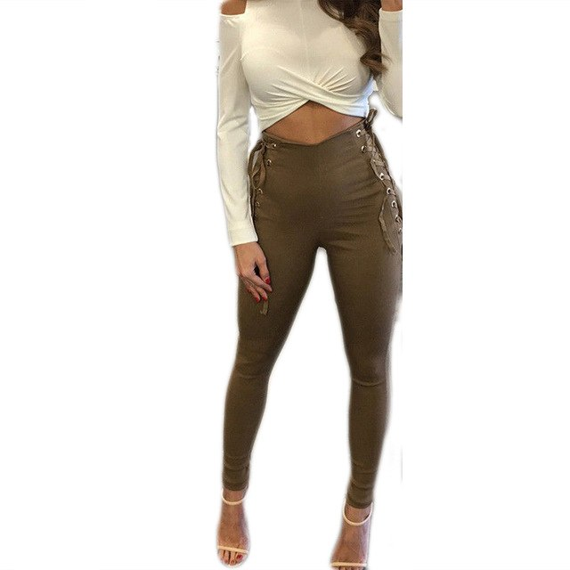 New fashion women clothes high waisted skinny long pants casual side bandage slim sexy solid long pants Trousers-geekbuyig