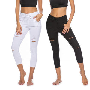 Skinny Jeans Women Denim Pants Holes Destroyed Knee Pencil Pants Casual Trousers Black White Stretch Ripped Jeans-geekbuyig