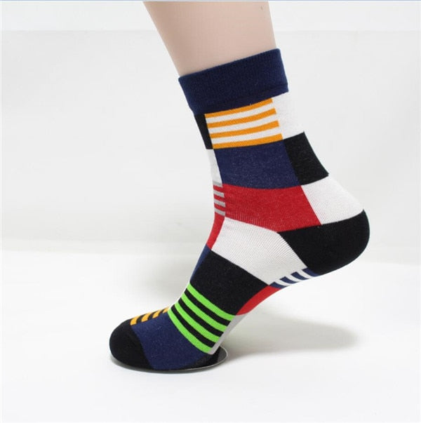 New hot-sell men socks cotton autumn-winter colorful large lattice colorful socks male and men's funny socks gift for men-geekbuyig
