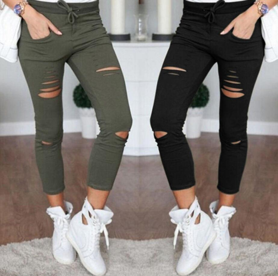 New 2016 Skinny Jeans Women Denim Pants Holes Destroyed Knee Pencil Pants Casual Trousers Black White Stretch Ripped Jeans-geekbuyig