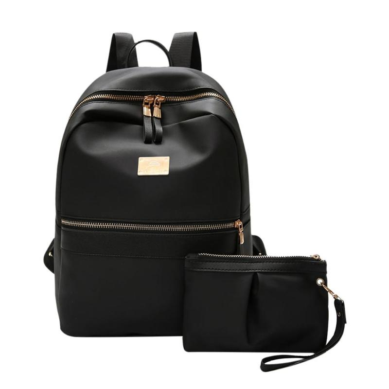 2pcs/set Fashion Women Backpack Set Black Backpack With Small Bag PU Leather School Bag For Ladies Bags For Woman 2018-geekbuyig