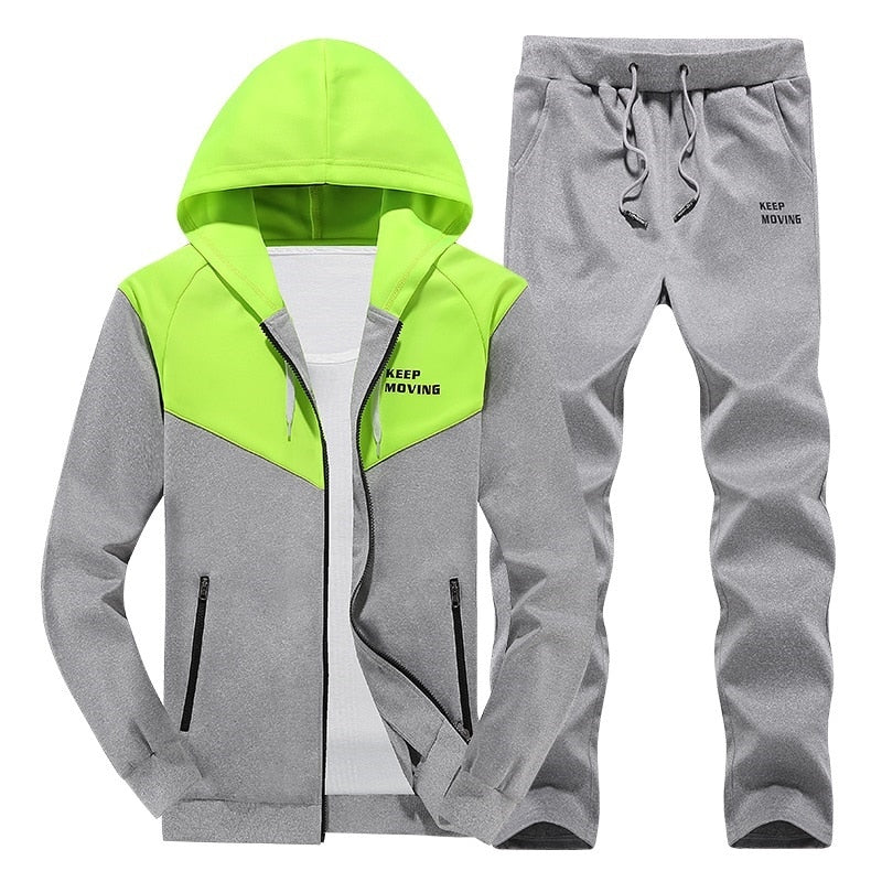 ASALI 2019 Men Tracksuits Outwear Hoodies Zipper Sportwear Sets Male Sweatshirts Cardigan Men Set Clothing+Pants plus size-geekbuyig