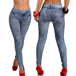 Woman Jeans Snowflake Slim Skinny Jeans Woman Mid Wais Denim Sexy Pants Soft Tights Leggings Woman Jeans 2018-geekbuyig