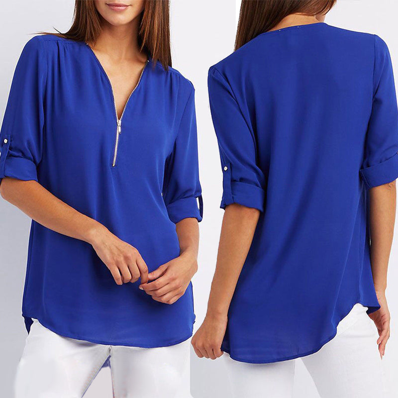 2019 Spring Summer Women Chiffon Blouses Casual Half Sleeve V-Neck Tops Fashion Loose Zipper Bluses Shirts Plus Size-geekbuyig