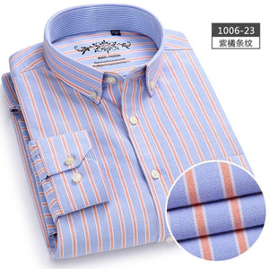 Men Shirt Long Sleeve Regular Fit Men Plaid Shirt Striped Shirts Men Dress Oxford Camisa Social 5XL 6XL large sizes Streetwear-geekbuyig