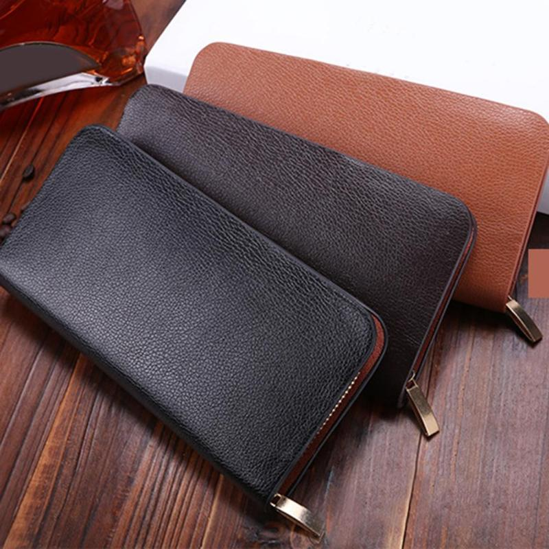 Leather Man Wallet Concise Money Bag Huge Capacity Thin Coin Purse Coin Card Holder Fashion 2019 Male Long Handbags Male clutch-geekbuyig