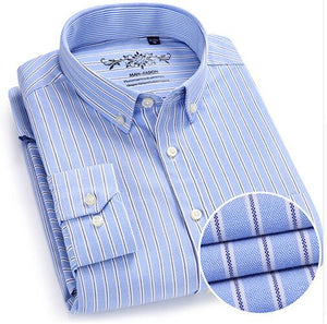 Quality Button Down Shirts Men's Long Sleeve Contrast Plaid Striped Oxford Dress Shirt Left Chest Pocket Male Casual Slim Fit-geekbuyig