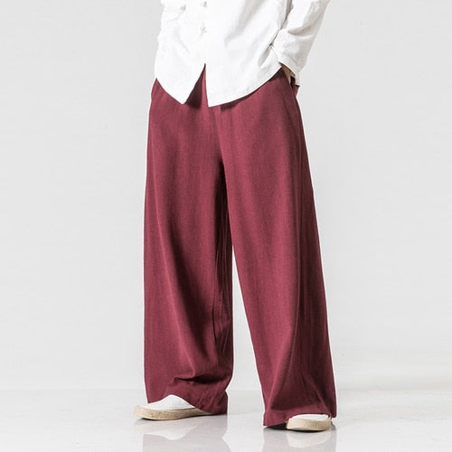 Men/Women Wide Leg Pants Vintage Casual Trouser 2018 Autumn New Cotton Linen Elastic Waist Loose Plus Size Solid Color Pants 5XL-geekbuyig