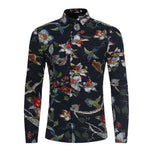 Men's Retro Flower Shirts 2019 New Casual Breathable Shirt Fashion Geometric Pattern Men Brand Social Print Long Sleeves Shirt-geekbuyig