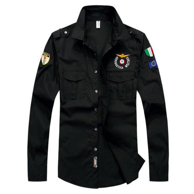 2019 Men Aeronautica Militare Air Force One Shirt Men Long Sleeve Casual Embroidery Logo Patch Plane Pilot Shirt M-3XL-geekbuyig