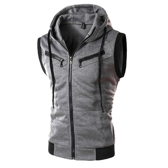 Large Size 3XL Casual Gray Male Vest Zipper Hooded Vests for Men Slim Hoody Waistcoat for Men Sleeveless Jacket Coat Autumn Vest-geekbuyig