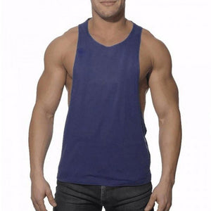 Men's Bodybuilding Tank Top Solid Color Vest Gym Fitness Clothing Muscle Sleeveless Vest Tank Tops-geekbuyig